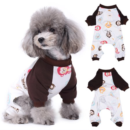 HiCoup Lovely Colorful Monkey Print Dog Jumpsuit Puppy Sleepwear Pajamas Pet Clothes (Puppy Monkey)