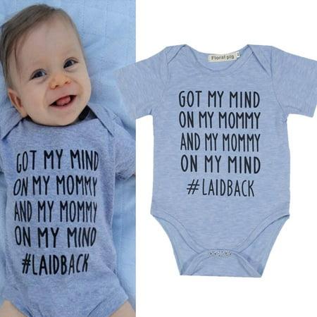 ec14ad36220e BOBORA - BOBORA US Newborn Baby Boy Girls Letter Print Blue Cotton ...