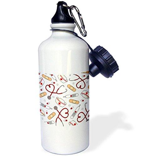 3dRose wb_128491_1Nurse Love Cute Cartoon RN Supplies Print Sports Water Bottle, 21 oz, White - image 1 of 1