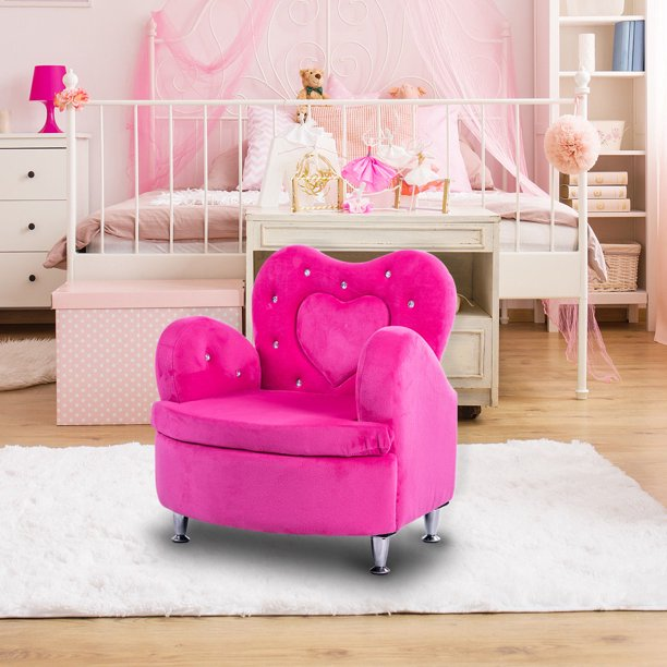 gymax rose kids sofa armrest chair couch soft velvet toddler children s furniture