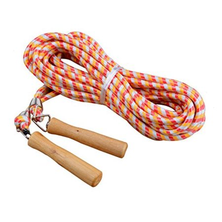 Kukome Wooden Handle Skipping Rope Jumping Ropes   Great For Gym  School  Group Jumping 10M  Red