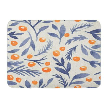 JSDART Seamless Hand Illustrated Indigo Floral Pattern on Paper Texture Watercolor Doormat Floor Rug Bath Mat 23.6x15.7 inch - image 1 of 1