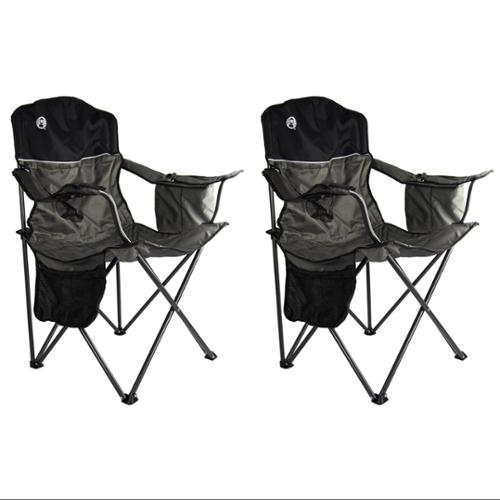 (2) COLEMAN Camping Outdoor Oversized Quad Chairs w/Cooler & Cup Holders | Black