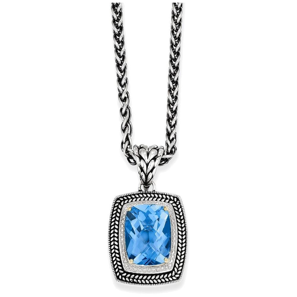 Sterling Silver w 14k Swiss Blue Topaz Necklace by