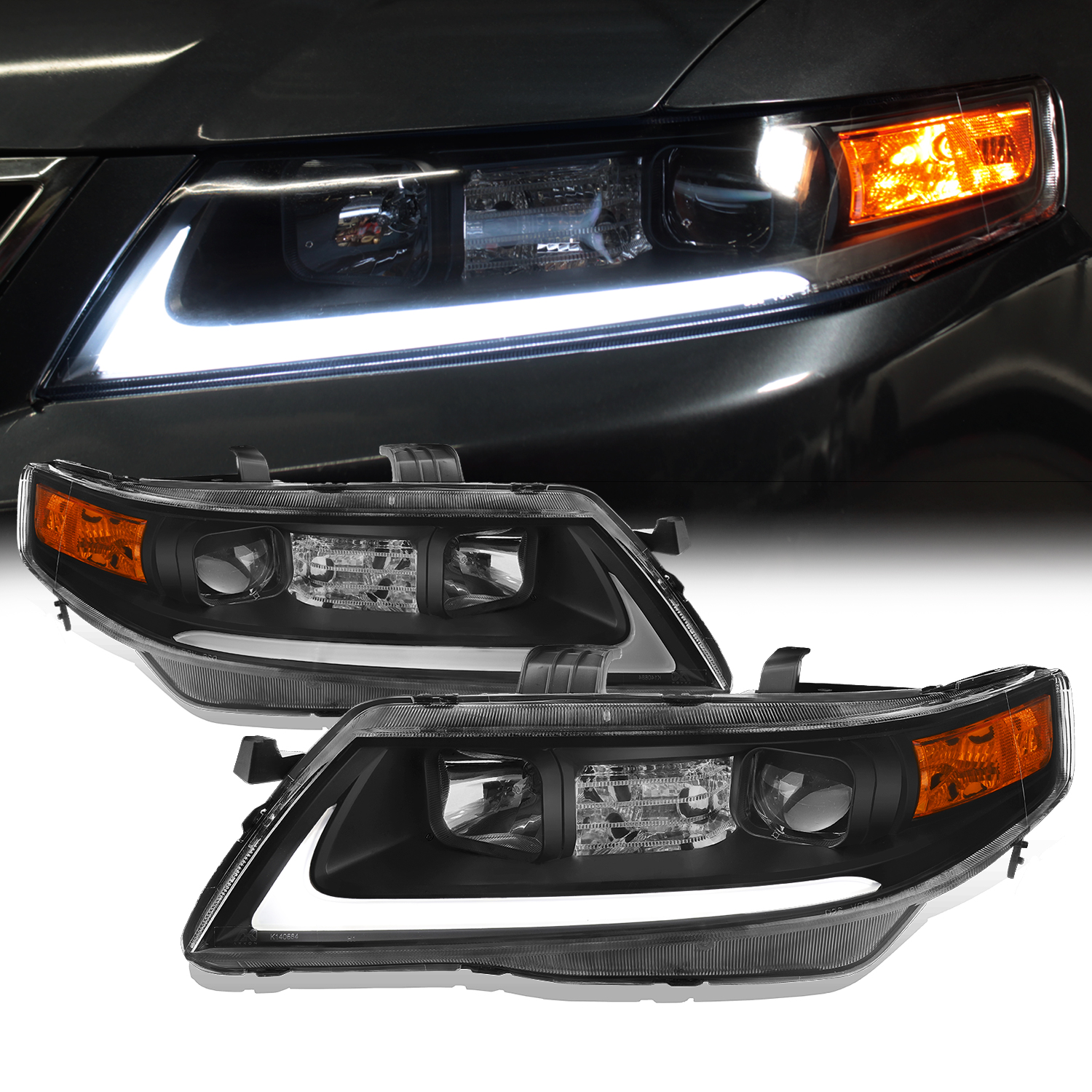 [Black] Fits 2004 2005 2006 2007 2008 Acura TSX LED Bar