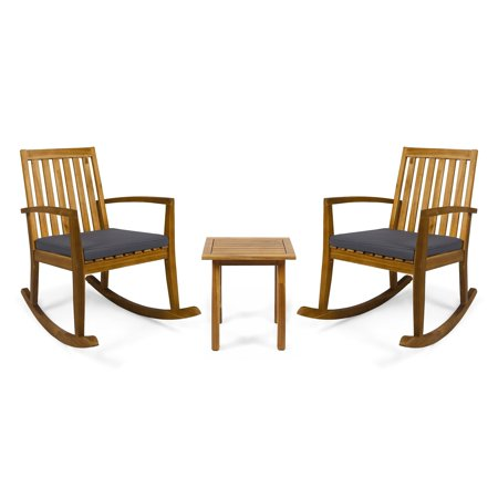 Christopher Knight Home Montrose Outdoor Acacia Wood Rocking Chairs with Accent Table by
