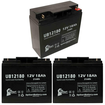 3x Pack - Frank Mobility Go Ped ESR 750 Battery Replacement -  UB12180 Universal Sealed Lead Acid Battery (12V, 18Ah, 18000mAh, T4 Terminal, AGM, (Go Ped Gas Tank)