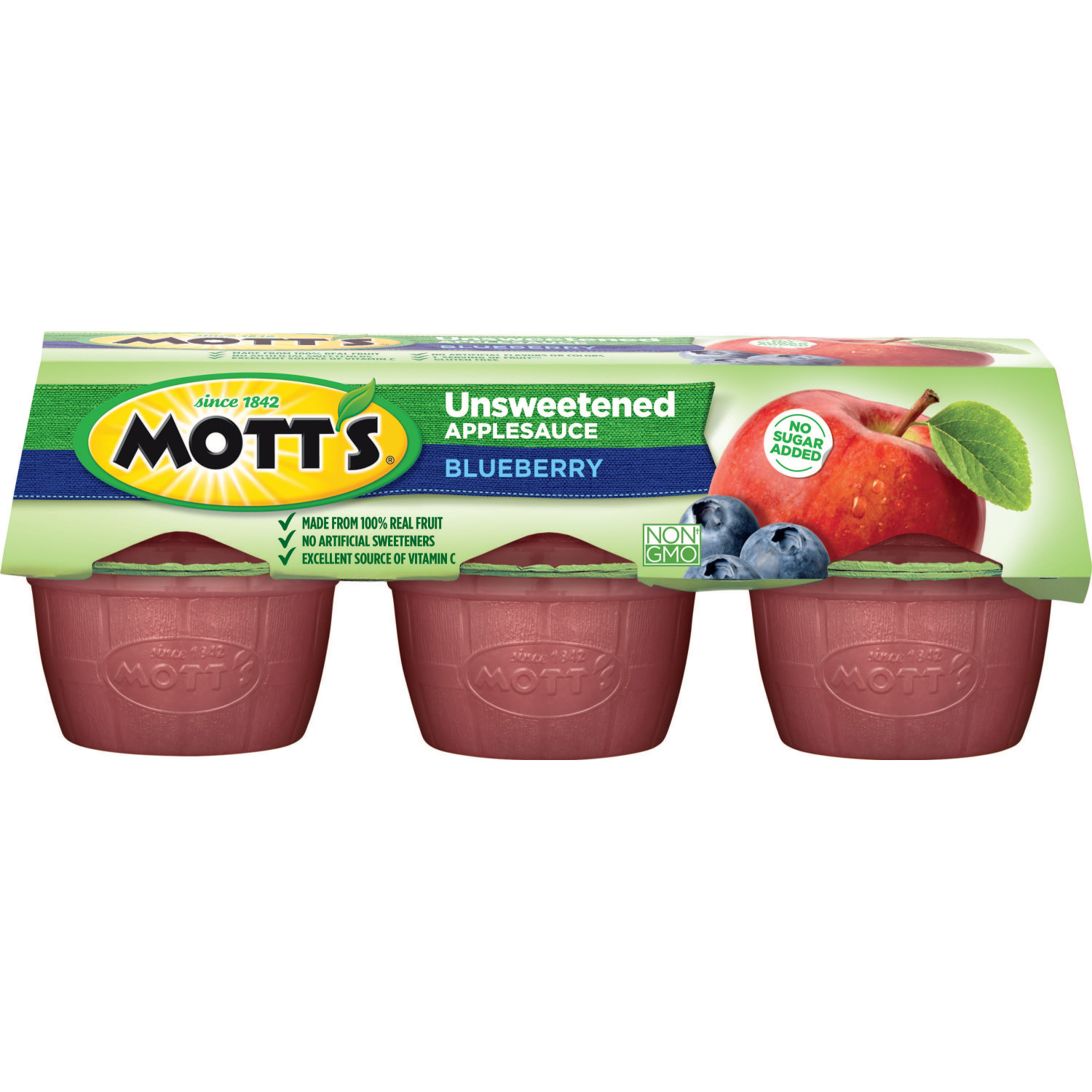 Mott's Unsweetened Applesauce Cups, Blueberry, 3.9 Oz, 6 Count