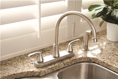 Waterfront Lead Free Two Handle Kitchen Faucet With Spray, PVD Brushed  Nickel Image