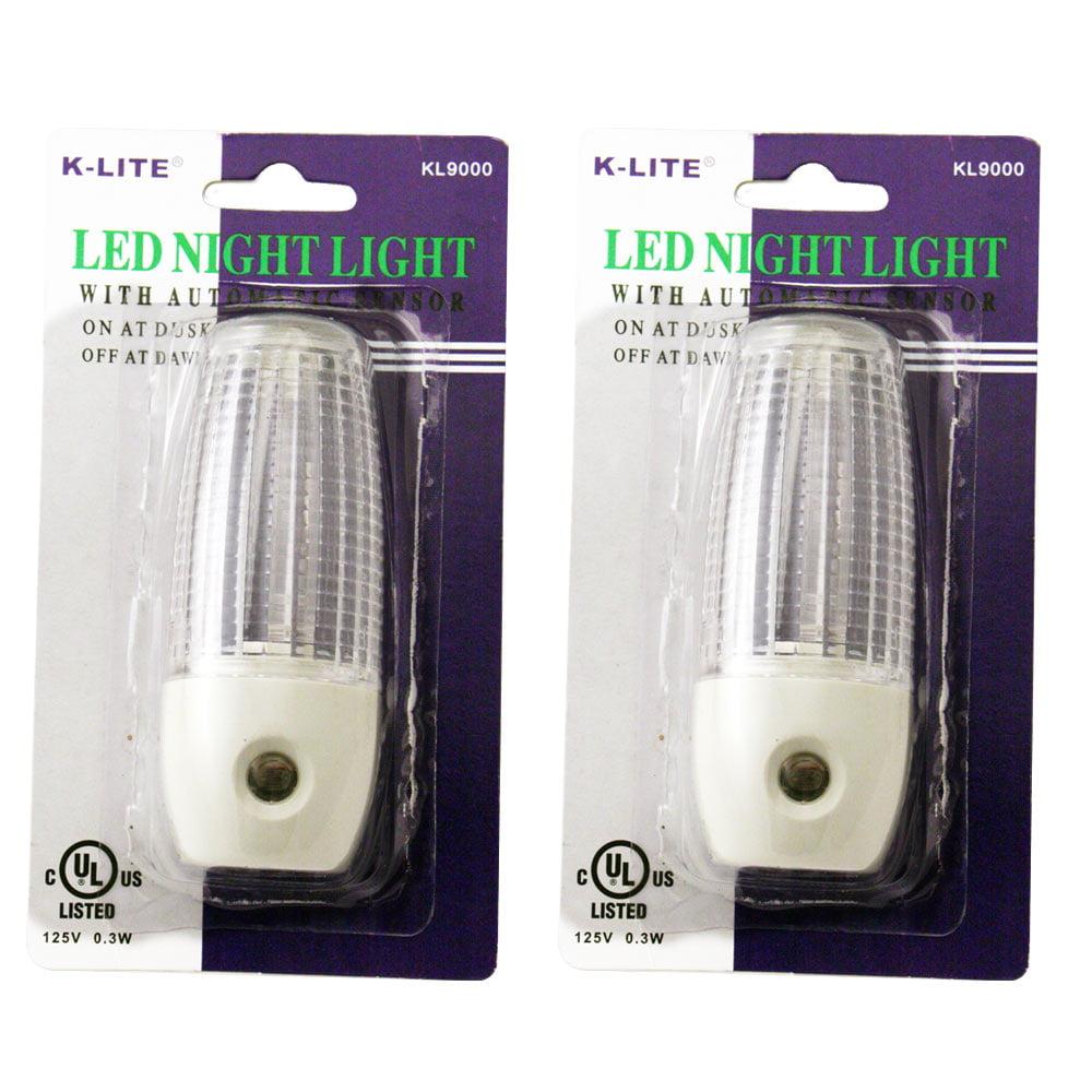 2 Automatic Sensor Night Light Plug In Lite Round Lamp Power Wall Nighlight New