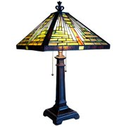 """Chloe Lighting Tiffany-Style 2-Light Mission Table Lamp with 14"""" Shade"""