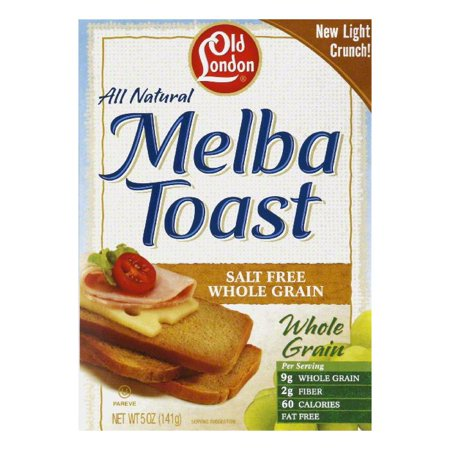 Old London Melba Toast Whole Grain Unsalted, 5 OZ (Pack of 12) - Old London Whole Grain