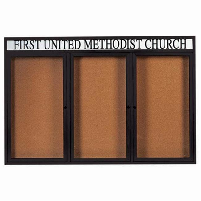 Aarco Products 3-Door Enclosed Bulletin Board with Heater