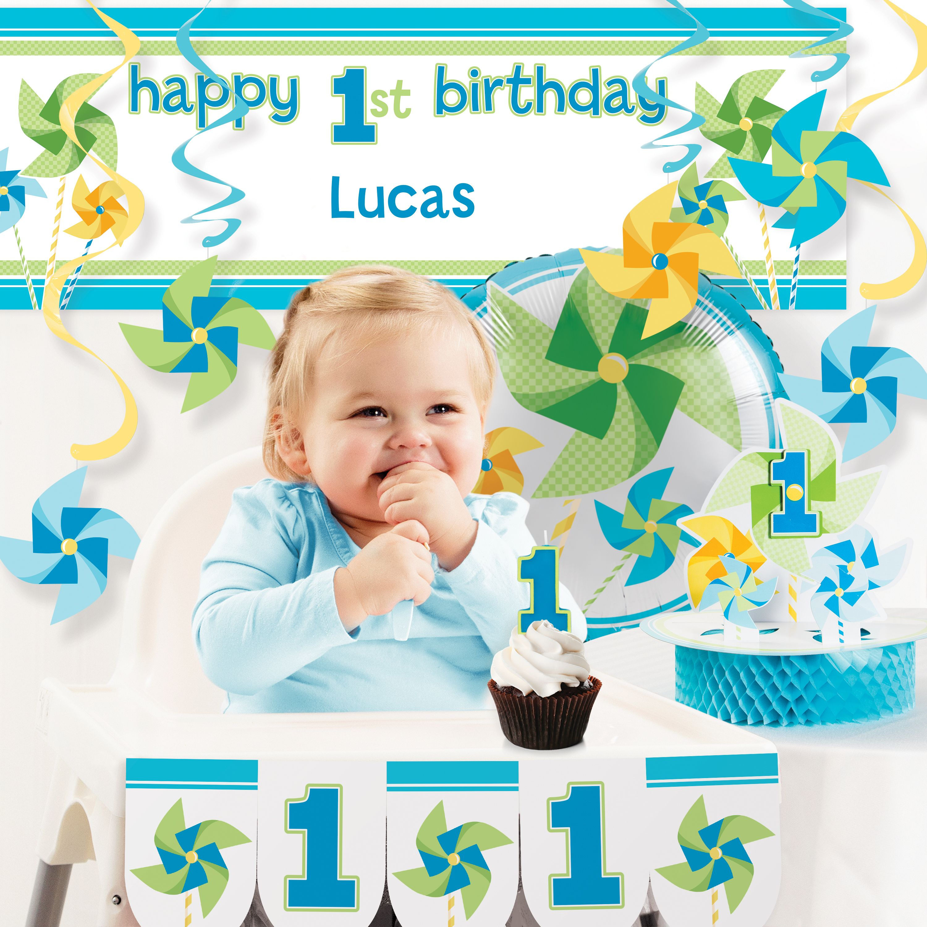 Turning One Boy 1st Birthday Party Decorations Kit