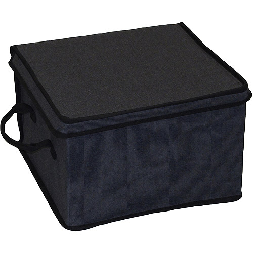 Canopy Collection Small Lidded Box, Rich Black Charcoal with Rich Black Trim