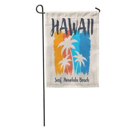 SIDONKU Tropical of Surf and Surfing in Hawaii Honolulu Beach Graphics Garden Flag Decorative Flag House Banner 28x40 inch ()