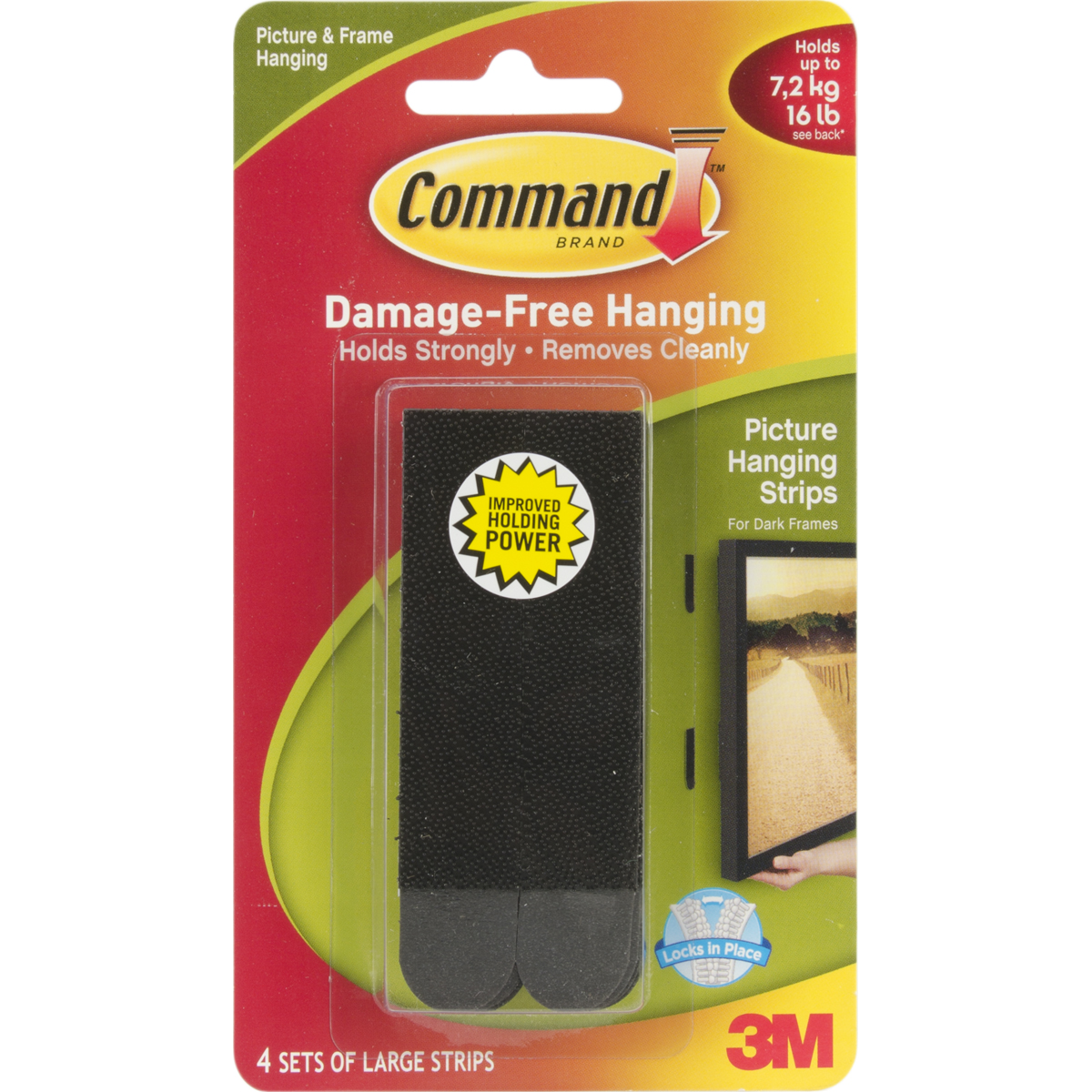 Command Large Picture Hanging Strips-Black 4 Sets/Pkg