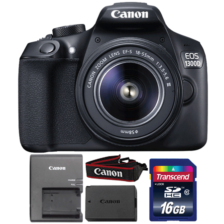 Canon EOS 1300D/T6 18MP Digital SLR Camera with 18-55mm III Lens and 16GB Memory Card