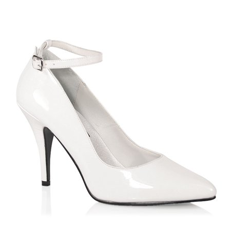 Womens 4 Inch Heels White Pumps Ankle Strap Classic Shoes Pointed Toe Patent