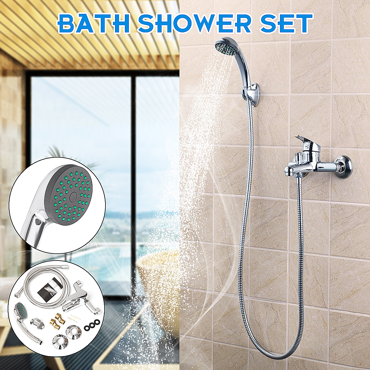 Chrome Bathroom Handheld Shower Head Spray Shower Faucet Set Wall