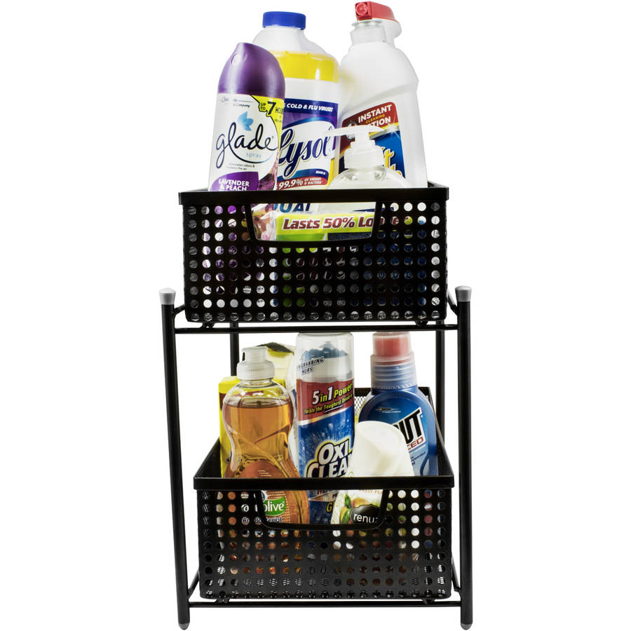 Sorbus 2 Tier Organizer Baskets with Mesh Sliding Drawers (Black)