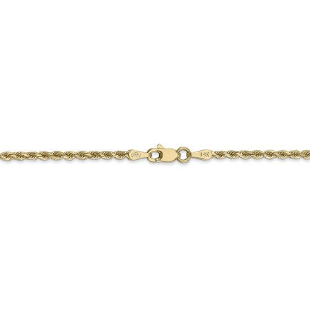 14K Yellow Gold 2mm Diamond -Cut Rope Chain Anklet 9 IN - image 1 de 4