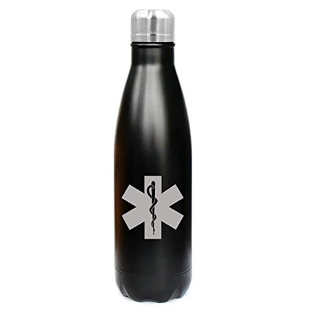 17 oz. Double Wall Vacuum Insulated Stainless Steel Water Bottle Travel Mug Cup Star Of Life EMT (Black)