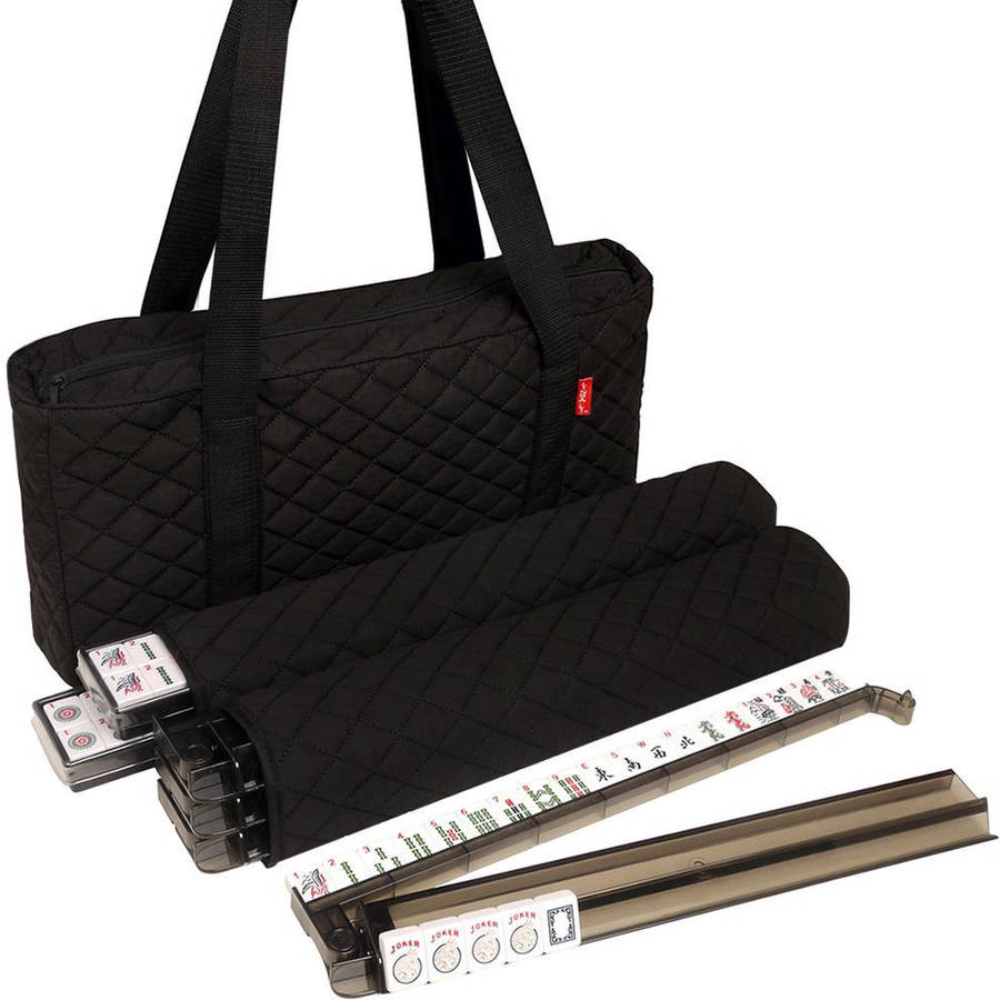 Soft-Sided American Mah Jongg Set by Linda Li with White Tiles and Modern Pushers, Black Soft Bag