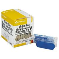 Adhesive Blue Metal Detectable Bandages, 1 x 3, Plastic w/Foil, 100/Bx, 12 Bx/Ct