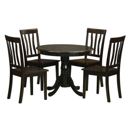 Cappuccino Kitchen Table and 4 Chairs 5-piece Dining Set Wood seat