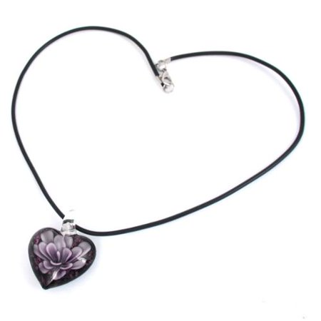 3D Flower Heart Shape Glass Bead Pendant Necklace Jewelry Light - Purple Beaded Necklaces