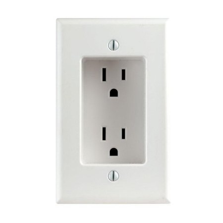 Leviton R52-00689-00W 1-Gang Recessed Duplex Receptacle, 125 V, 15 A, 2 Pole, 3 Wire, White