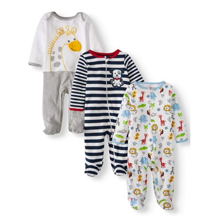Wonder Nation Inverted zipper sleep n play & coveralls, 3pc pajama set (baby boys) - Newborn Printed Coverall