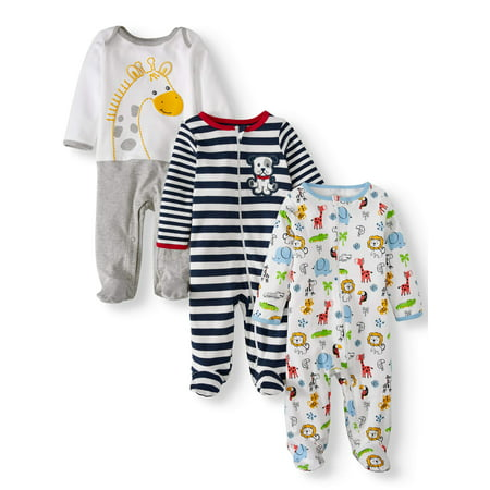 Wonder Nation Inverted zipper sleep n play & coveralls, 3pc pajama set (baby boys)](Baby Christmas Pajamas)