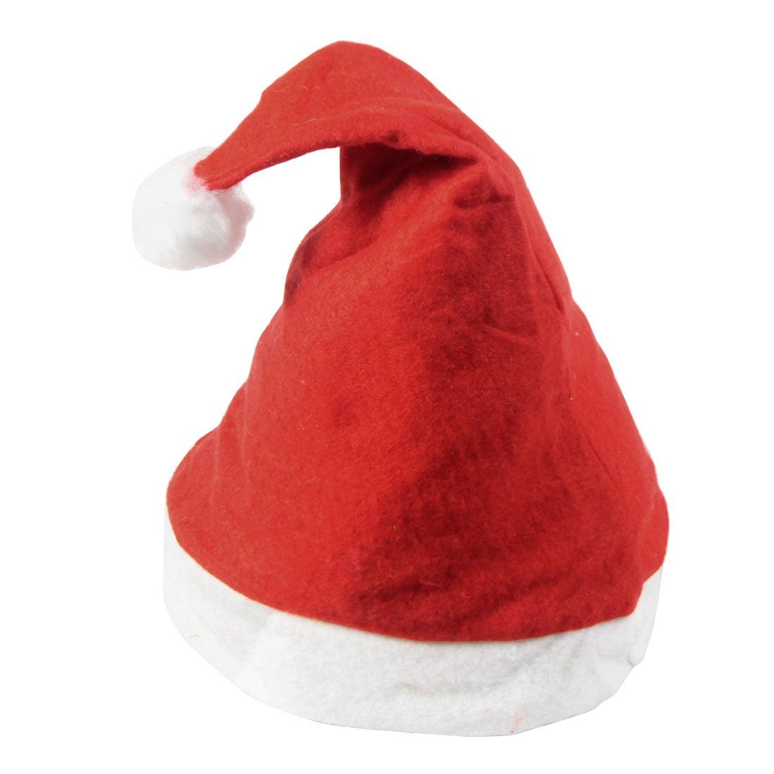 Unique Bargains Head Wearing Fleece White Rim Red Santa Claus Christmas Xmas Hat