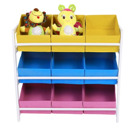 Kids Children Bedroom Storage Multi-Bin Toy Organizer with 9 Storage ...