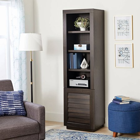Better Homes & Gardens Ellis Shutter Tower Bookcase and Cabinet, Dark Oak - Left Audio Cabinet