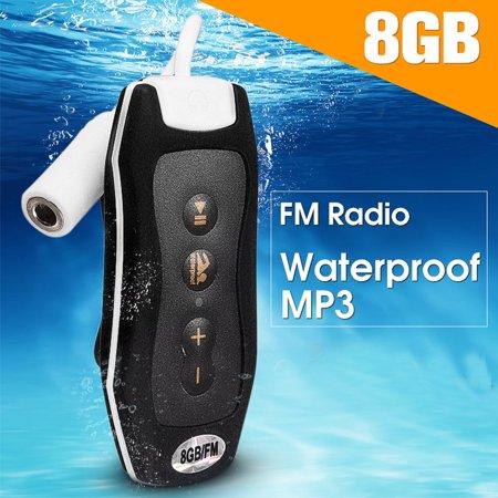 IPX8 Waterproof 8G MP3 Music Player FM Earphone Underwater Sport