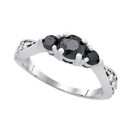10Kt White Gold Womens Round Black Colored Diamond 3 Stone Bridal Wedding Engagement Ring  1 00 Cttw