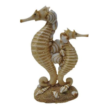 Coastal Seahorse Mom and Baby Sand and Seashells Resin Figurine ()