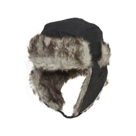 Ushanka Faux Fur Trapper Winter Flight Trooper Hat Cap - CHARCOAL (Faux Fur Trapper)