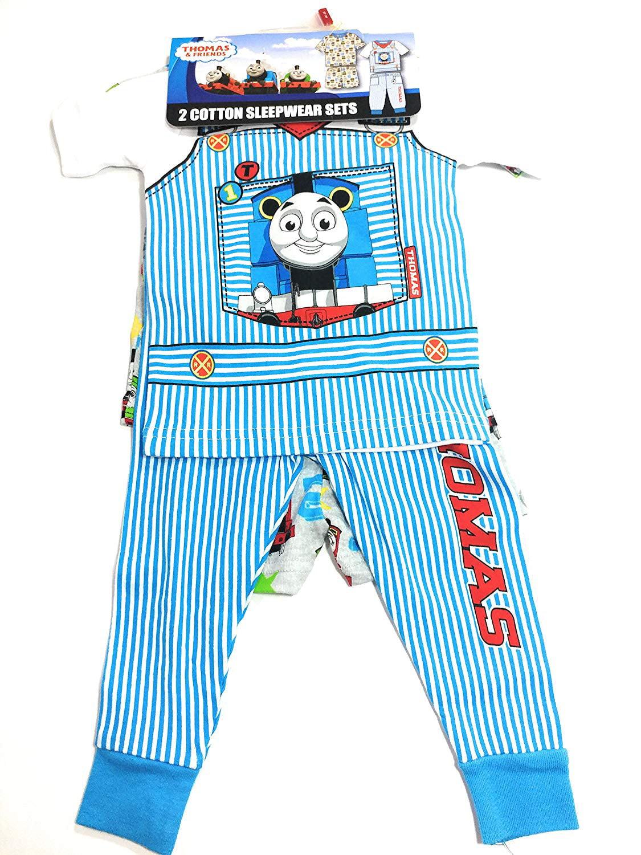 Thomas & Friends Toddlers Size 12 Months Short Sleeve 2 Cotton Sleepwear Sets, Multi/White/Grey