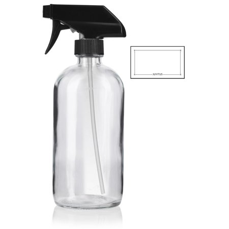 16 oz Clear Boston Round Thick Plated Glass Bottle with Black Trigger Spray + Label - Perfect for Home, Cleaning, Cooking, DIY, Gifts