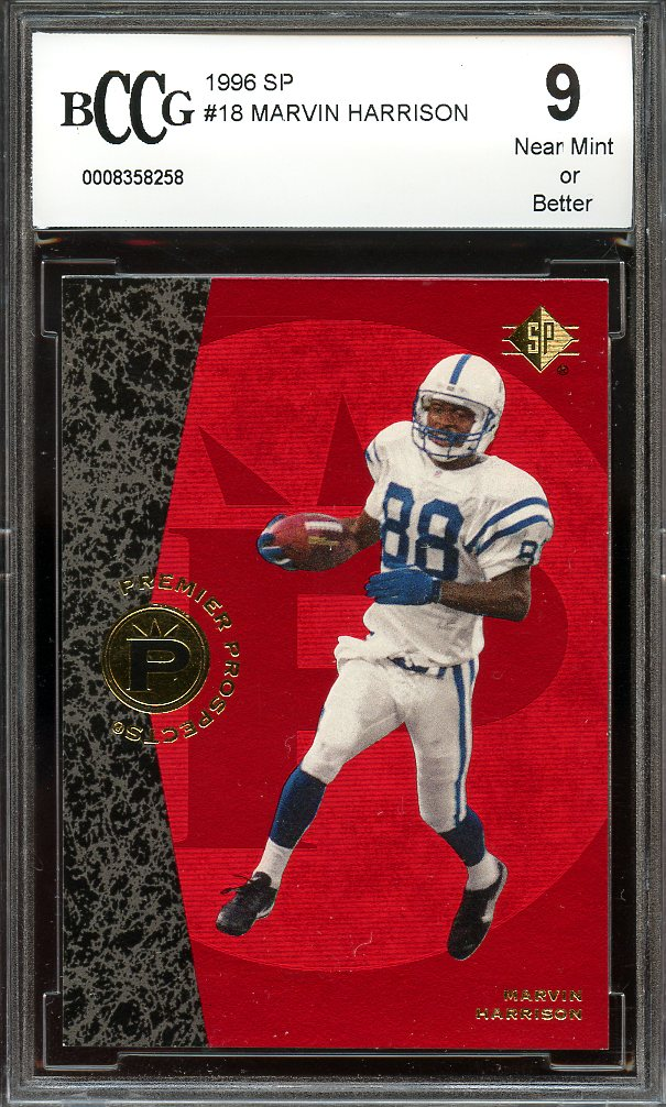1996 Sp 18 Marvin Harrison Indianapolis Colts Rookie Card Bgs Bccg 9
