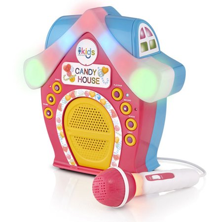 Singing Machine - Kids Candy House Portable Bluetooth Sing-Along Speaker with LED Lit Microphone and Rooftop ()