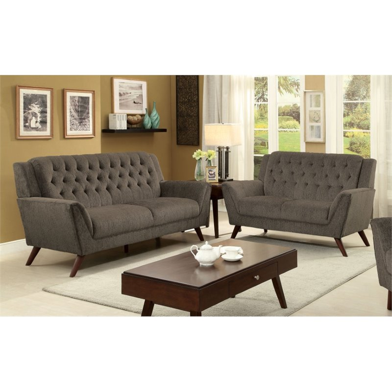 Furniture Of America Graham 2 Piece Tufted Chenille Sofa Set In Gray