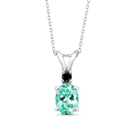 1.27 Ct Oval Blue Apatite Black Diamond 925 Sterling Silver Pendant