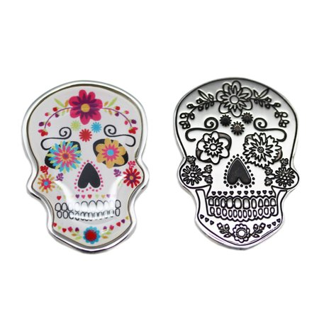 Spooky Skull Charm: White With Pink Flowers - By Ganz for $<!---->