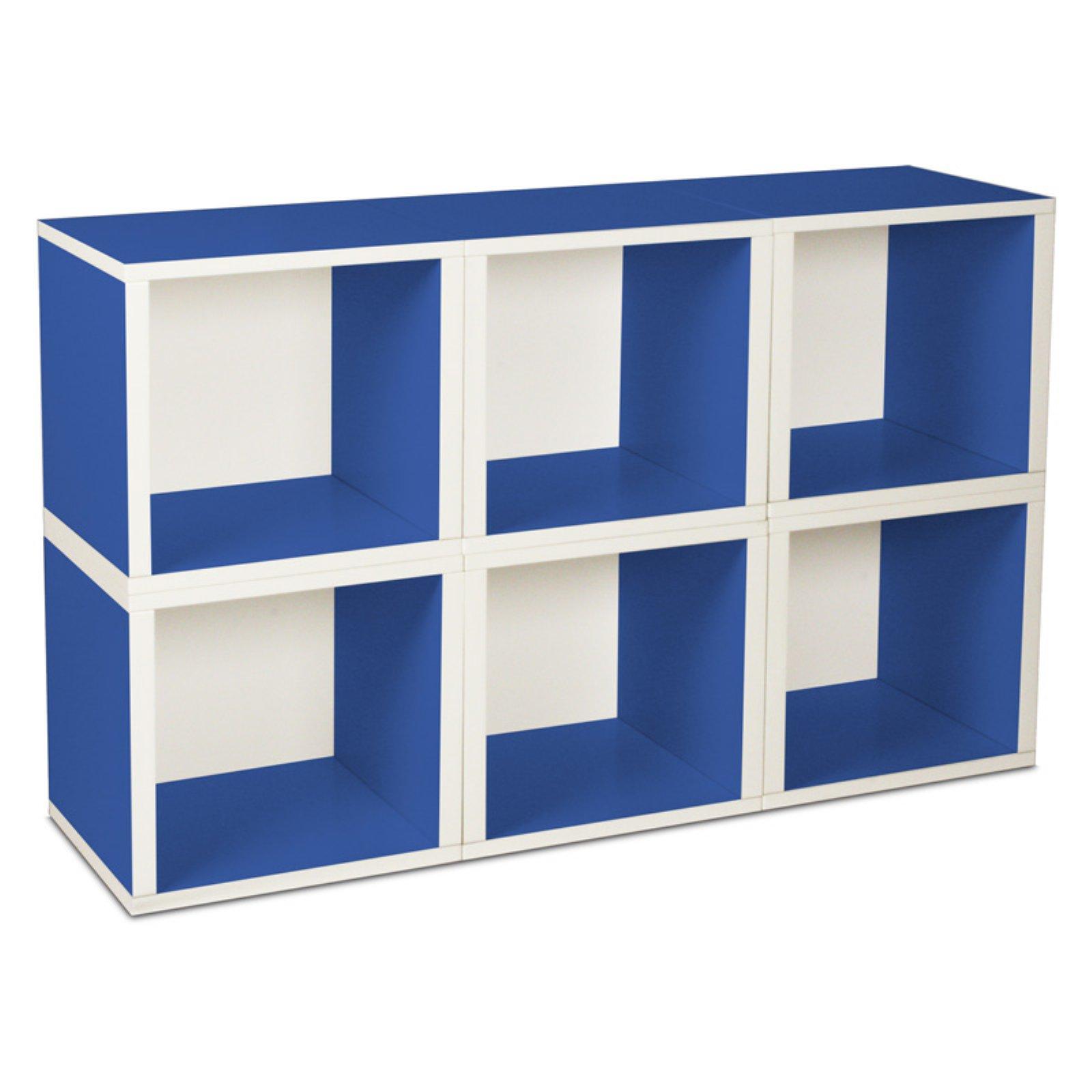 Way Basics Eco Stackable Modular Storage Cubes (6 Pack), Blue