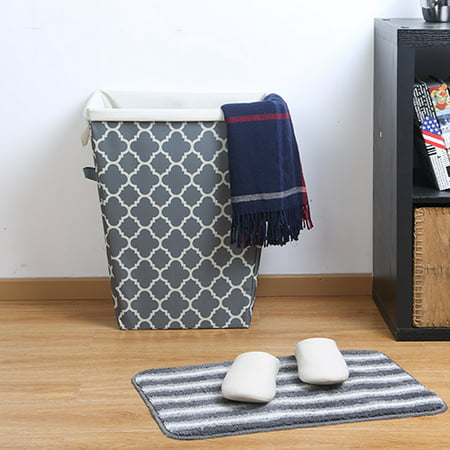 Mainstays Grey Flannel Hamper with Removable Arctic White Liner, 2 Piece ()